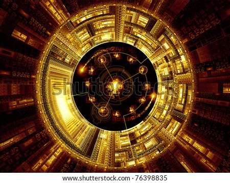 Interplay of digital symbols and abstract forms on the subject of artificial intelligence, computing, data processing, science and technology - stock photo