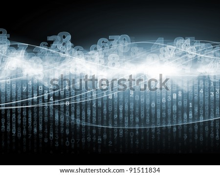 Interplay of digits, lights and abstract fractal waves on the subject of digital communications and modern technologies. - stock photo