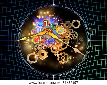 Interplay of elements of a clock and abstract elements on the subject of time, progress, past, present and future of technology - stock photo