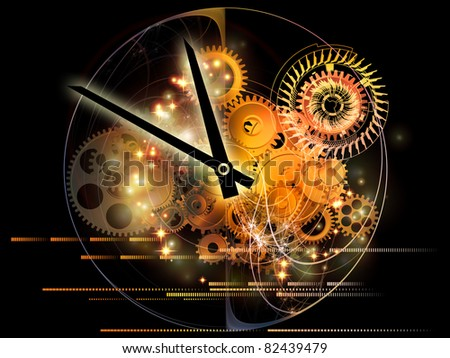 Interplay of elements of a clock and abstract elements on the subject of time, progress, past, present and future of technology