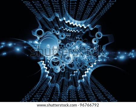 Interplay of gears, lights and technological design elements on the subject of information and digital processes and modern technologies - stock photo