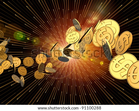 Interplay of golden dollar coins against background burst pattern on the subject of finance, money, business and commerce