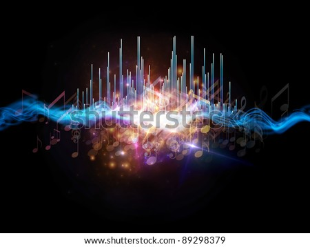 Interplay of graphic analyzer bars, music notes, lights and abstract design elements on the subject of music, concert performance, sound and entertainment - stock photo