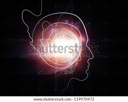 Interplay of human head and fractal grids on the subject of science, technology and intelligent life in the Universe