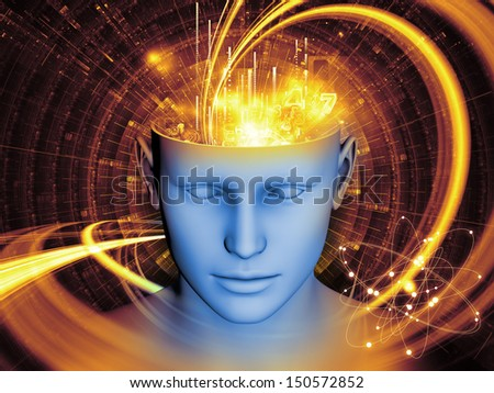 Interplay of human head and symbolic elements on the subject of human mind, consciousness, imagination, science and creativity - stock photo