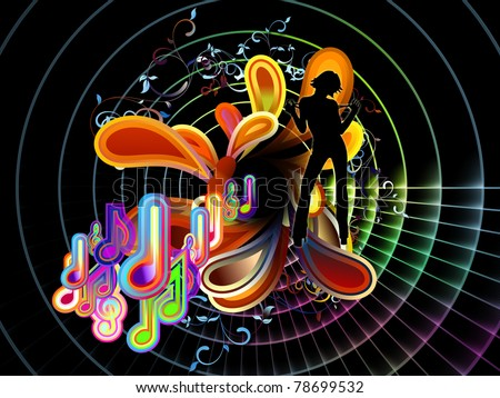 Interplay of musical symbols and abstract forms on the subject of music, song, performance and celebration - stock photo