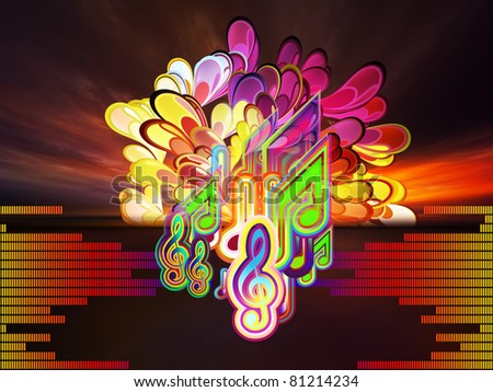 Interplay of musical symbols, sunset background, sound meter and abstract splash on the subject of sound and music. - stock photo