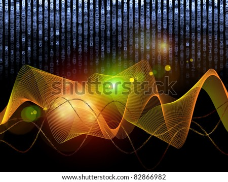 Interplay of numbers and attractive abstract forms on the subject of mathematics, science, computing, and modern technologies - stock photo