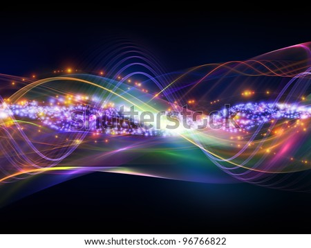 Interplay of overlapping abstract  waves, colors and lights  on the subject of technology, entertainment, communications, sound and audio