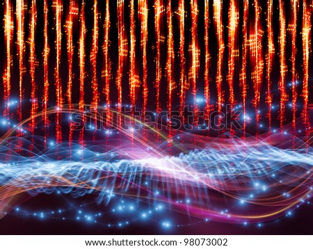 Interplay of sine waves, musical notes, lights and abstract design elements on the subject of music, sound, entertainment, data visualization  and modern technologies - stock photo