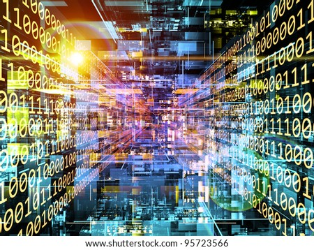 Interplay of three dimensional technology grids and digits on the subject of digital technologies - stock photo