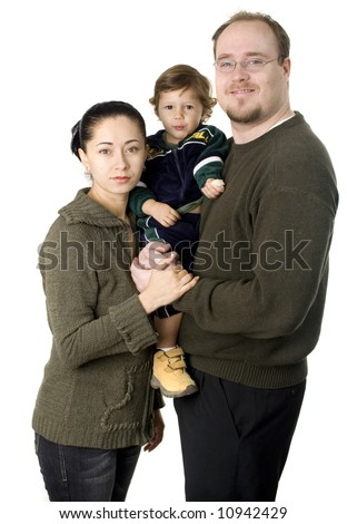Interracial couple with small baby boy smiling isolated - stock photo
