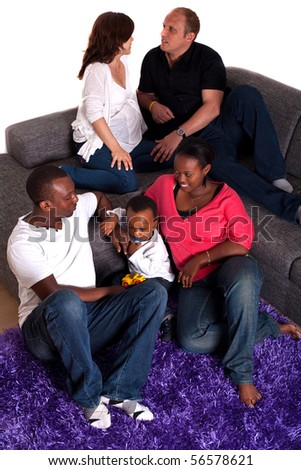 Interracial friends and family - stock photo