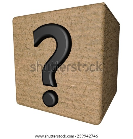 Interrogative point over open box, 3d render - stock photo