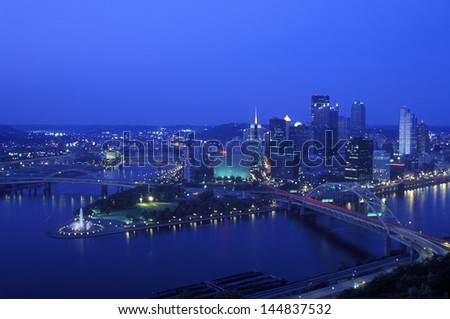 Intersection of Allegheny River, Monongahela River and Ohio River at dusk from Mount Washington, Pittsburgh, PA - stock photo