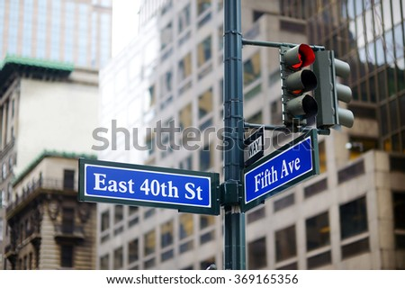 Intersection of East 40th street and 5th Ave in New York City - stock photo