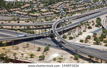 Interstate 10 and the U.S. Route 60 interchange along the Phoenix/Tempe border - stock photo