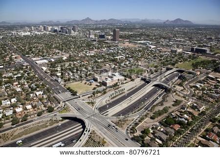 Interstate 10 and uptown Phoenix, Arizona aerial view - stock photo