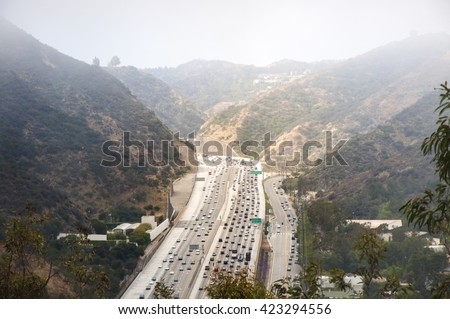 Interstate 405 Freeway near Brentwood, aerial view - stock photo