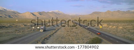 Interstate 15, Near Las Vegas, After Winter Storm, Nevada - stock photo