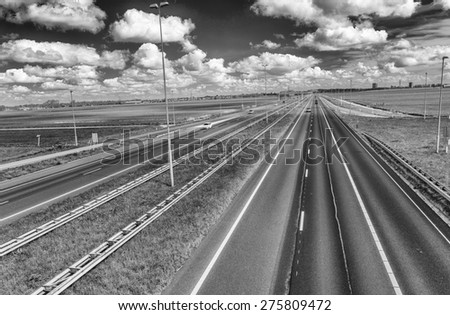 Interstate road across Europe. - stock photo