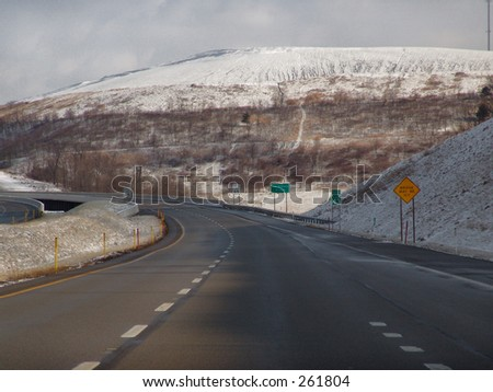Interstate with signs - stock photo
