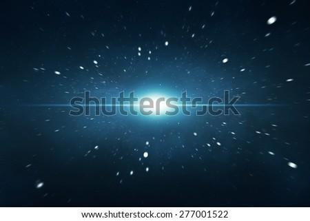 Interstellar travel or supernova starburst concept - stock photo