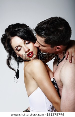 Intimacy. Couple of Beloveds kissing and Hugging. Closeness - stock photo