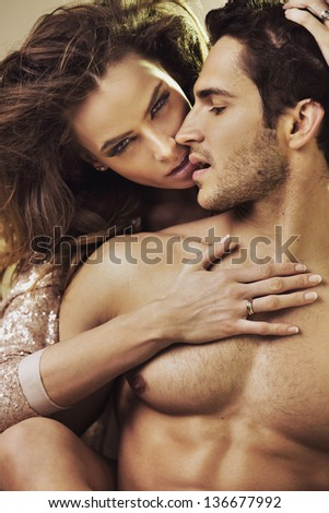 Intimacy of a young couple - stock photo