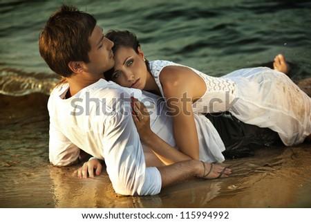Intimacy on the beach - stock photo