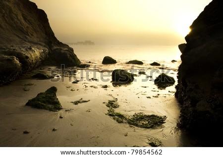 Intimate view of Half Moon Bay at dawn - stock photo