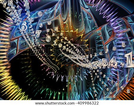 Into Infinity series. Composition of  fractal patterns, curves and symbols for projects on math, technology, science and education - stock photo
