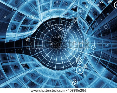 Into Infinity series. Visually attractive backdrop made of fractal patterns, curves and symbols suitable in layouts on math, technology, science and education - stock photo