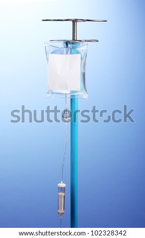 Intravenous therapy on blue background