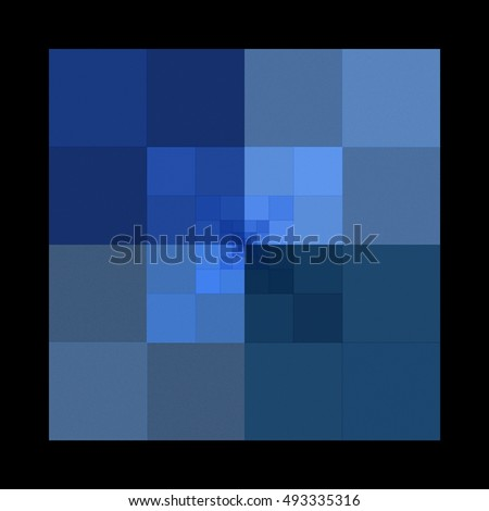 Intricate abstract navy, blue and silver square tile / design on black background