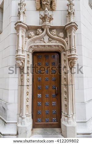 Intricate architectural details of doors at Hearst Castle, California. - stock photo