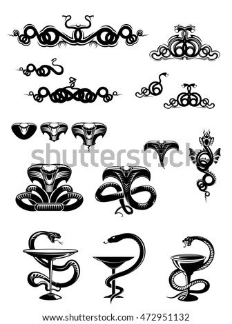 Intricate black and white snake icons or mascots with coiled swirling snakes and serpents