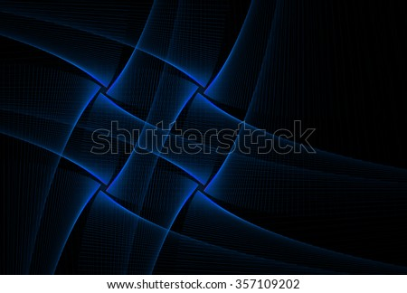 Intricate blue abstract woven diamond / cross string design on black background  - stock photo