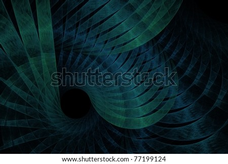 Intricate blue and green abstract ribbon spiral on black background - stock photo