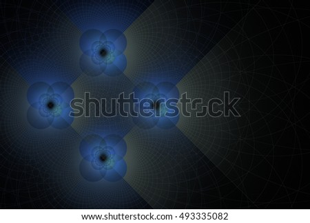 Intricate blue and silver abstract flower / diamond design on black background