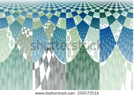 Intricate blue, green and teal arched checkered design on white background  - stock photo