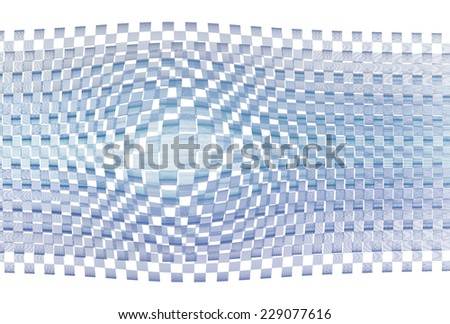 Intricate blue / purple abstract checkered bulge on white background  - stock photo