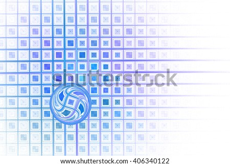 Intricate blue / purple abstract shiny sphere on tiled grid on white background  - stock photo