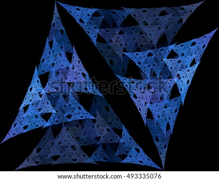 Intricate blue / purple abstract woven triangle design on black background