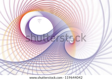Intricate blue, purple, orange and red abstract woven spiral design on white background - stock photo