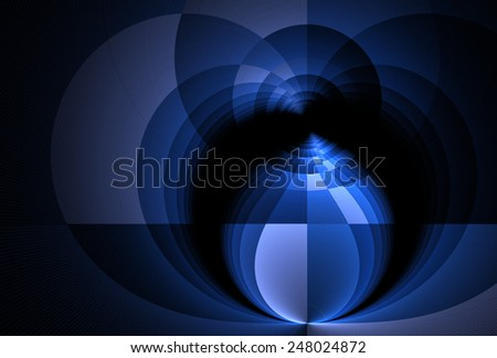 Intricate blue / silver bud / droplet on black background - stock photo