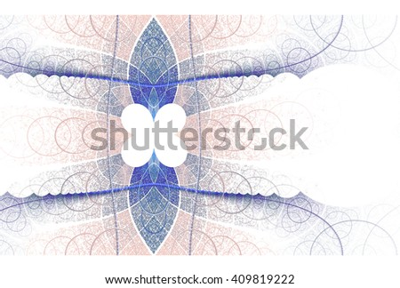 Intricate blue, silver / white abstract woven flower design on white background  - stock photo