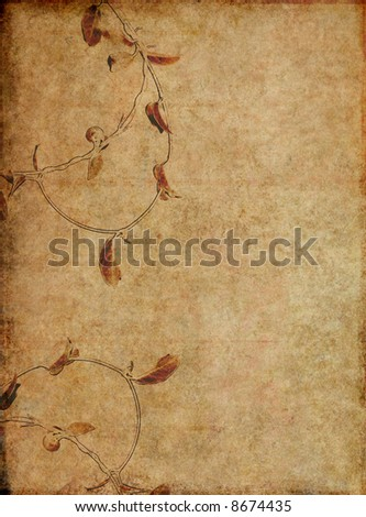 intricate brown background image with interesting texture and floral elements with plenty of space for text - stock photo