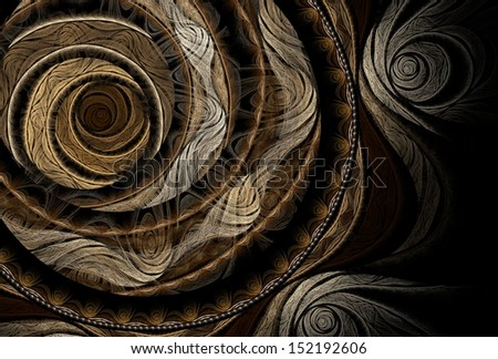 Intricate copper / cream / brown abstract rose design on black background  - stock photo