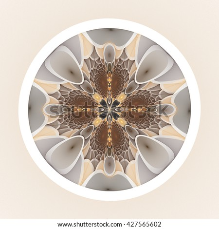 Intricate copper / gold abstract flower / star disc design on white background